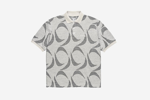PATTERNED POLO SHIRT - Ivory/Black