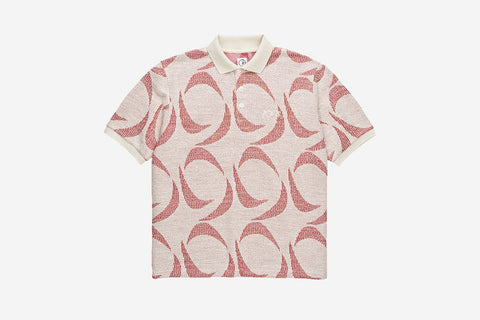 PATTERNED POLO SHIRT - Ivory/Red