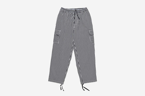 STRIPED CARGO PANTS - White/Black