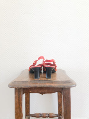 Load image into Gallery viewer, Red Multi Woven Sandal