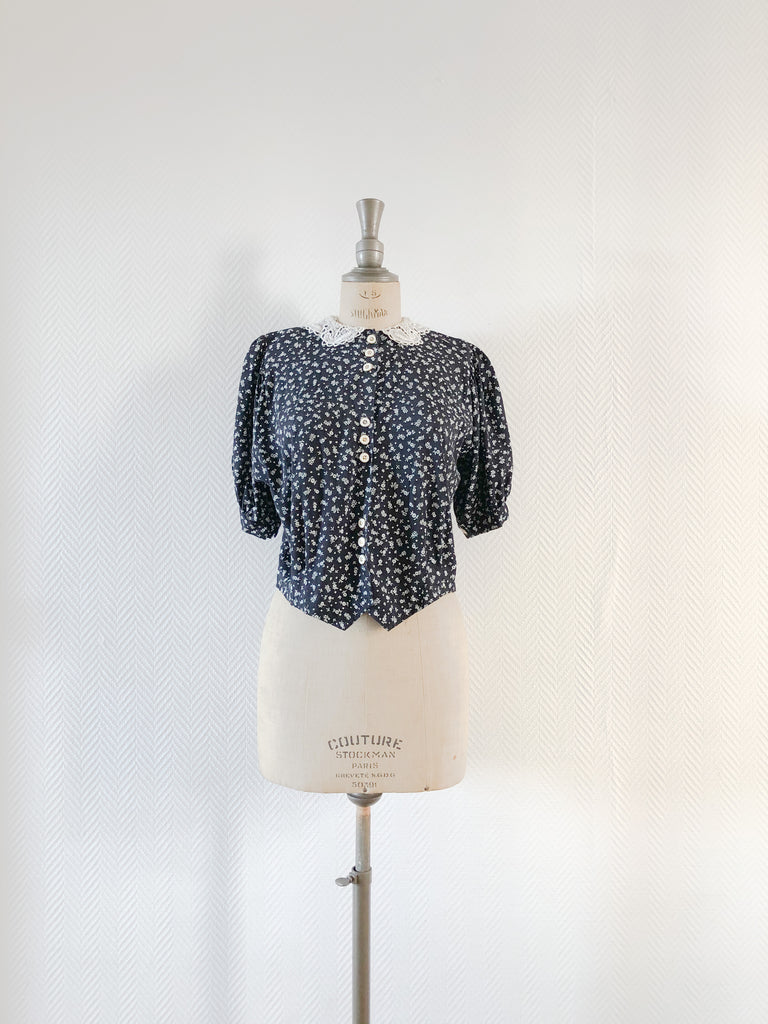 Crop Ditsy Lace Blouse