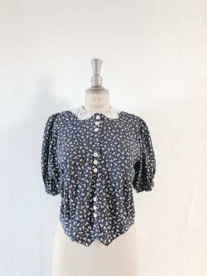 Crop Ditsy Lace Blouse | SOLD OUT