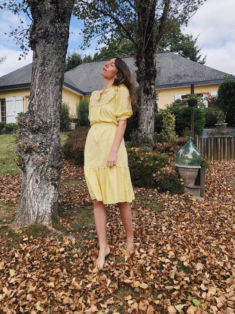 Yellow Frill Prairie Dress