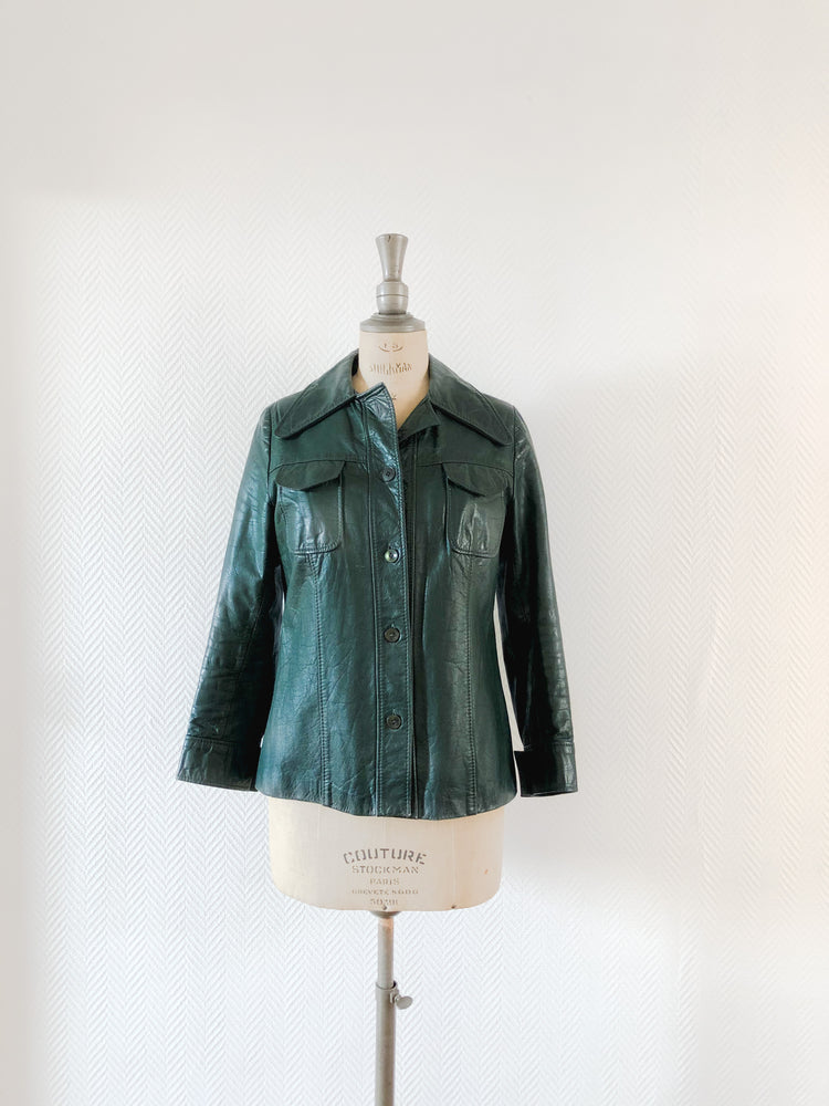 70s Green Leather Jacket