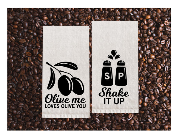 Flour Sack Towels | Olive me love olive you + Shake it up