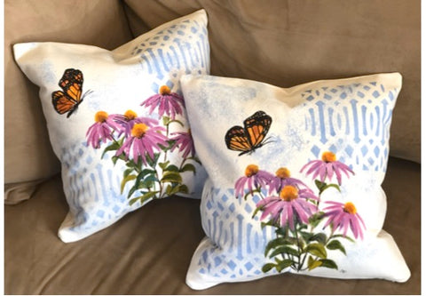 Monarch & Echinacea Pillow