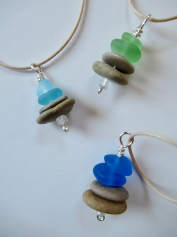 Cairn Necklaces - Assorted Colors Sea Glass and Stone