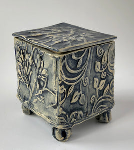 Lidded hand built box, local seaweed embossed on buff stoneware clay