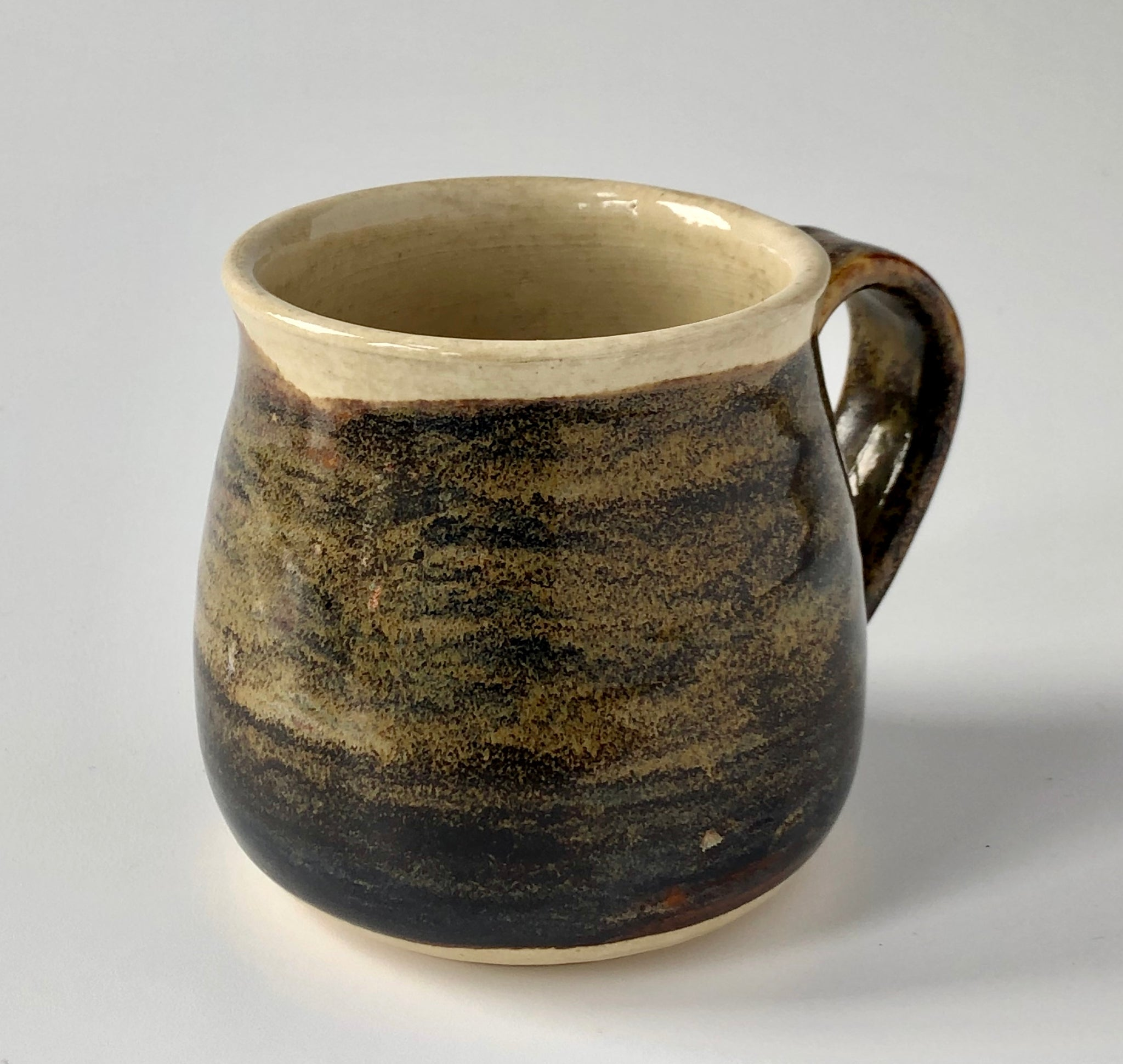Oatmeal and Brown Glaze on Buff Stoneware Handmade Mug