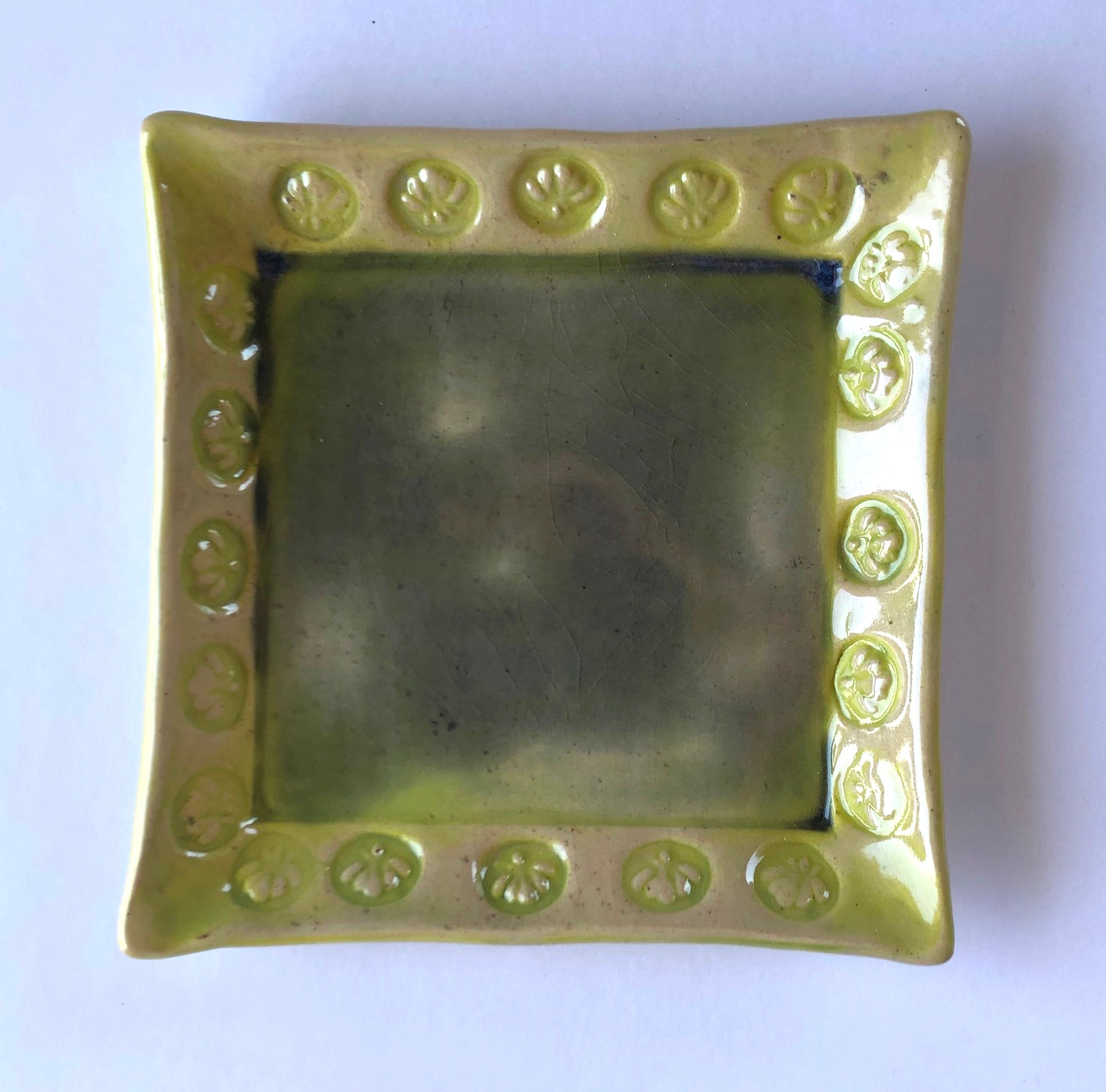 Shell Stamped Square Handmade Pottery Dish