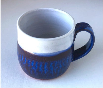 Blue and White Handmade Earthenware Mugs