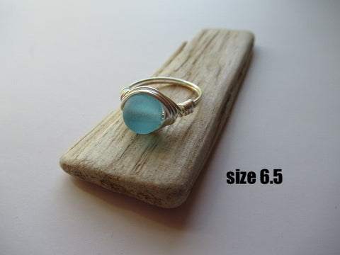 Blue Wire Wrapped Ring - Assorted Sizes