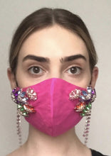 Load image into Gallery viewer, Couture Isabelle Face Covering - Hot pink embellished