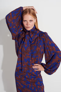 Talia top - Blue/Rust