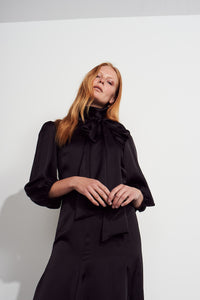 NEW Martha tie Dress - Black satin