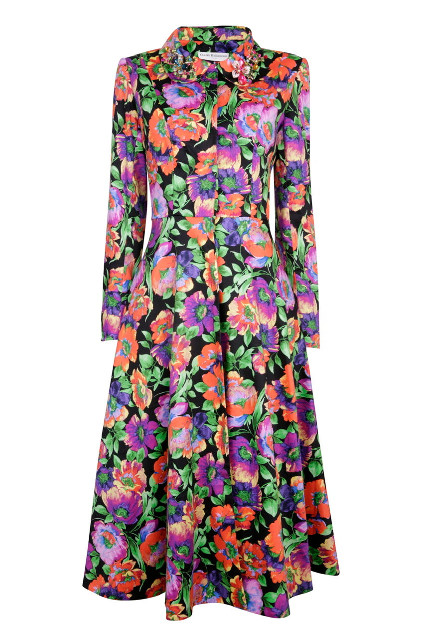 NEW Grace Coat Dress - Black floral crystal