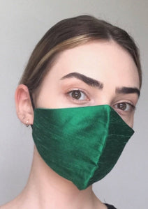 Olivia Face Covering - Emerald silk
