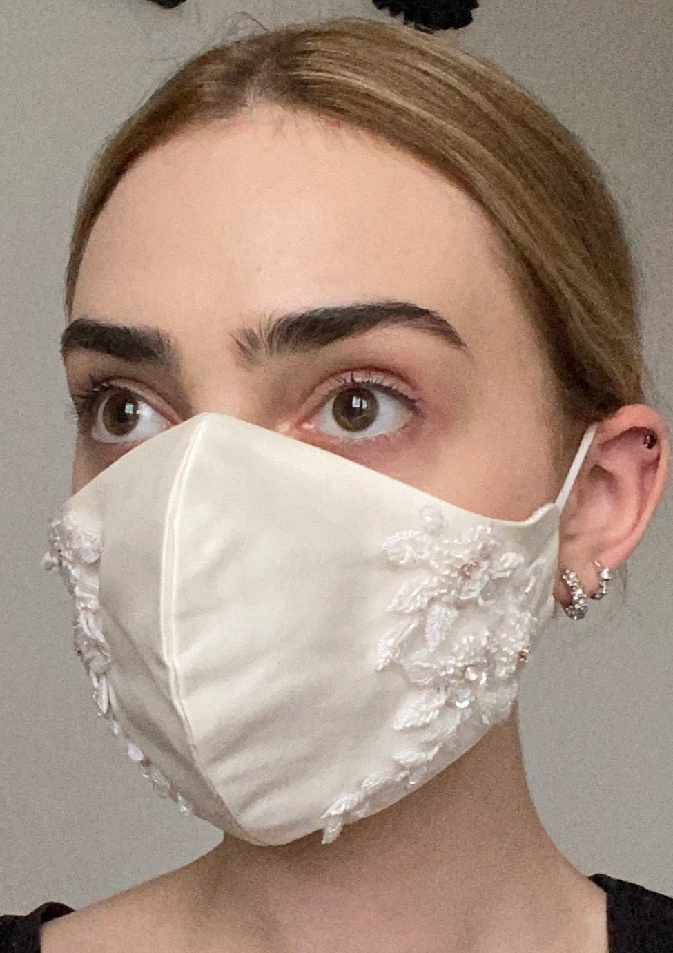 Couture Bridal Face Covering - Ivory Embellished