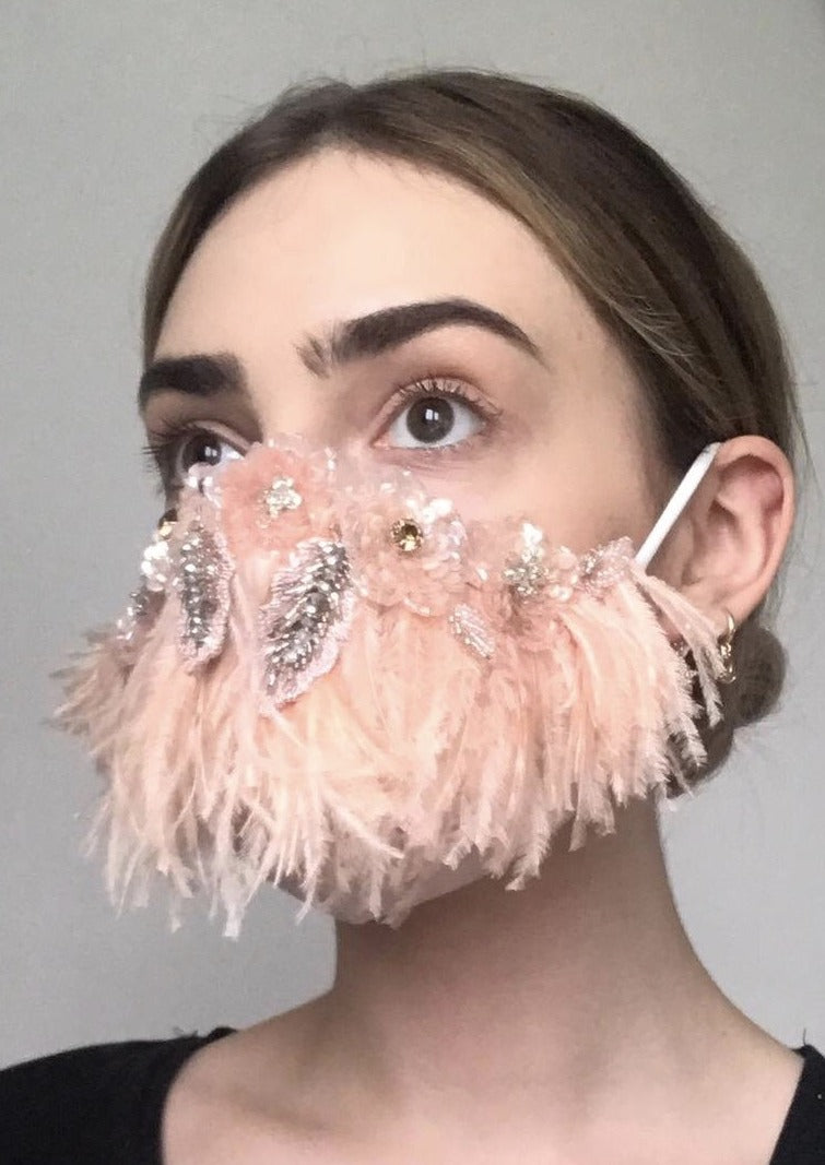 Couture Isabelle Face Covering - Blush feather embellished
