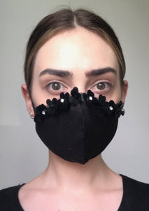 SOLD OUT Olivia Face Covering - Black sequin flowers
