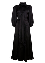 Load image into Gallery viewer, NEW Martha tie Dress - Black satin