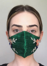 Load image into Gallery viewer, Olivia Face Covering - Emerald embellished