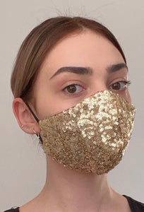 Olivia Face Covering - Gold sequin