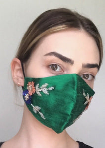 Olivia Face Covering - Emerald embellished