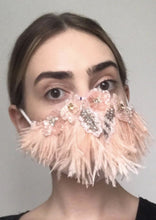 Load image into Gallery viewer, Couture Isabelle Face Covering - Blush feather embellished