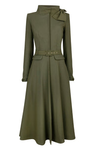 Kristen Coat Dress - Khaki crepe