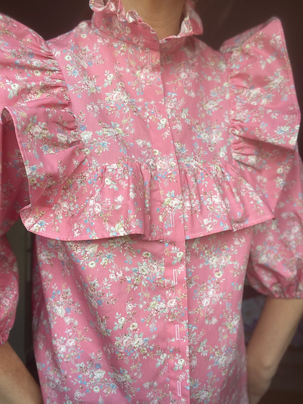 NEW Alice frill top - Pink floral