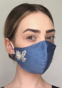 Olivia Face Covering - Blue embellished