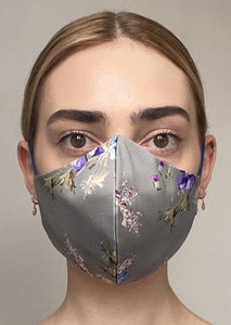 Olivia Face Covering - Grey floral