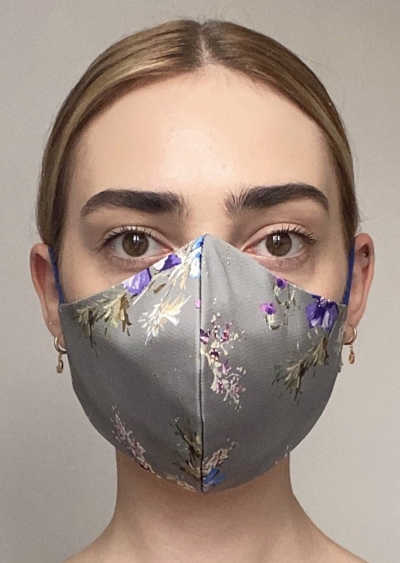NEW Olivia Face Covering - Grey floral