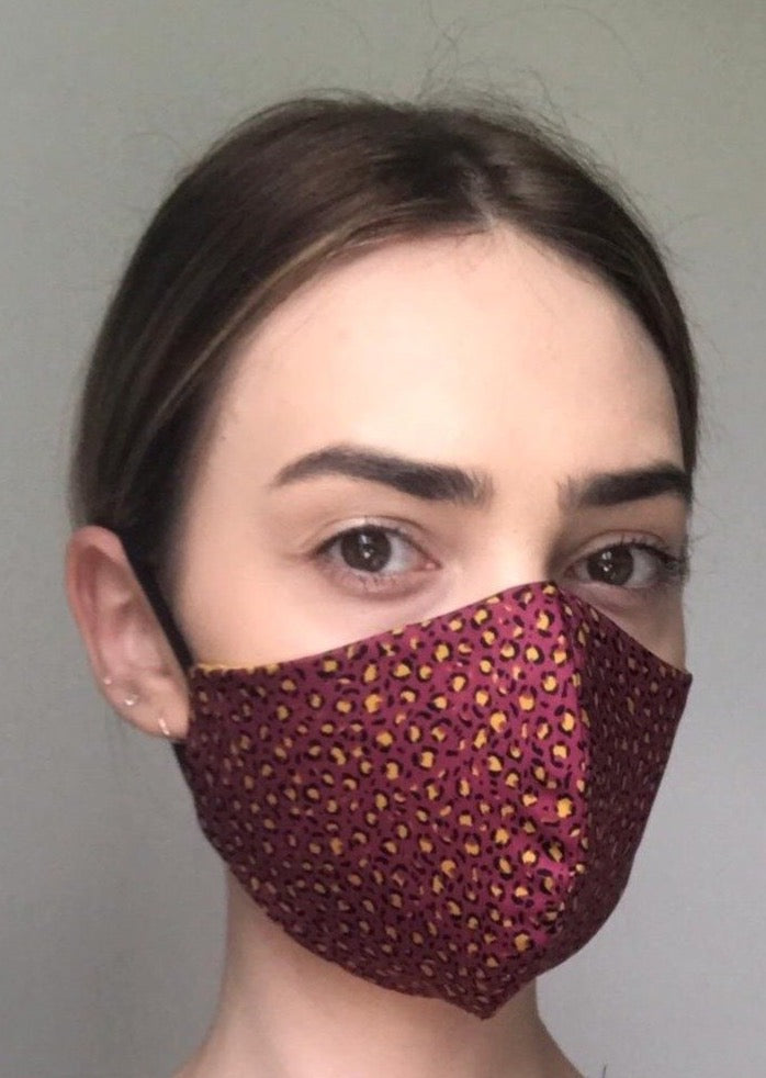 NEW Olivia Face Covering - Burgundy leopard