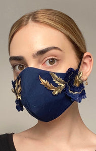 Olivia Face Covering - Navy embellished