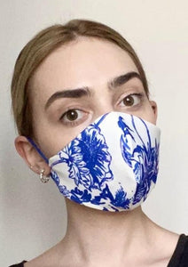 Olivia Face Covering - Ivory/Blue floral