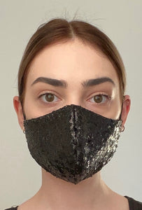 NEW Olivia Face Covering - Black sequin