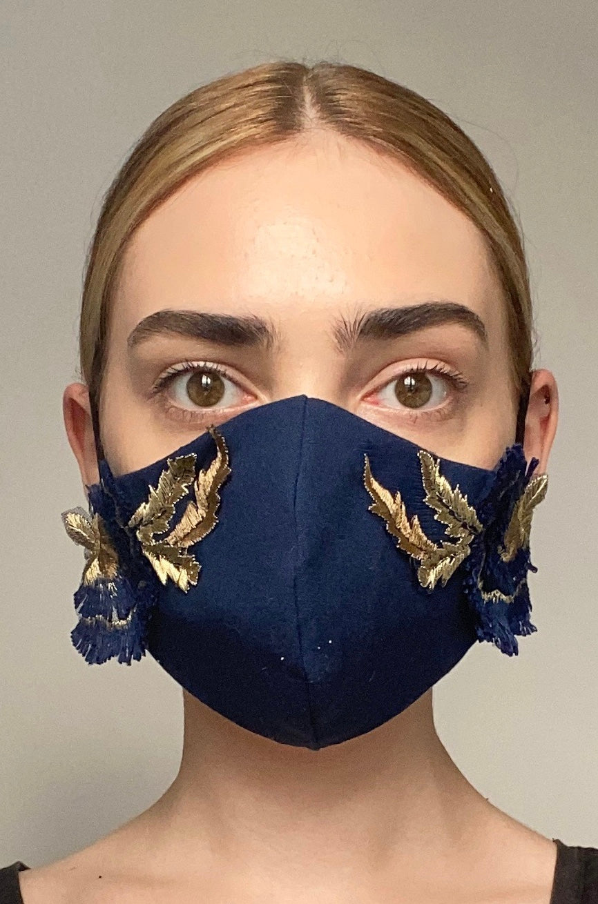 NEW Olivia Face Covering - Navy embellished