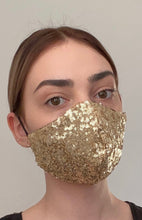 Load image into Gallery viewer, Olivia Face Covering - Gold sequin