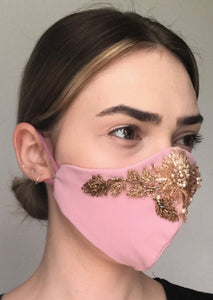 Olivia Face Covering - Pink embellished