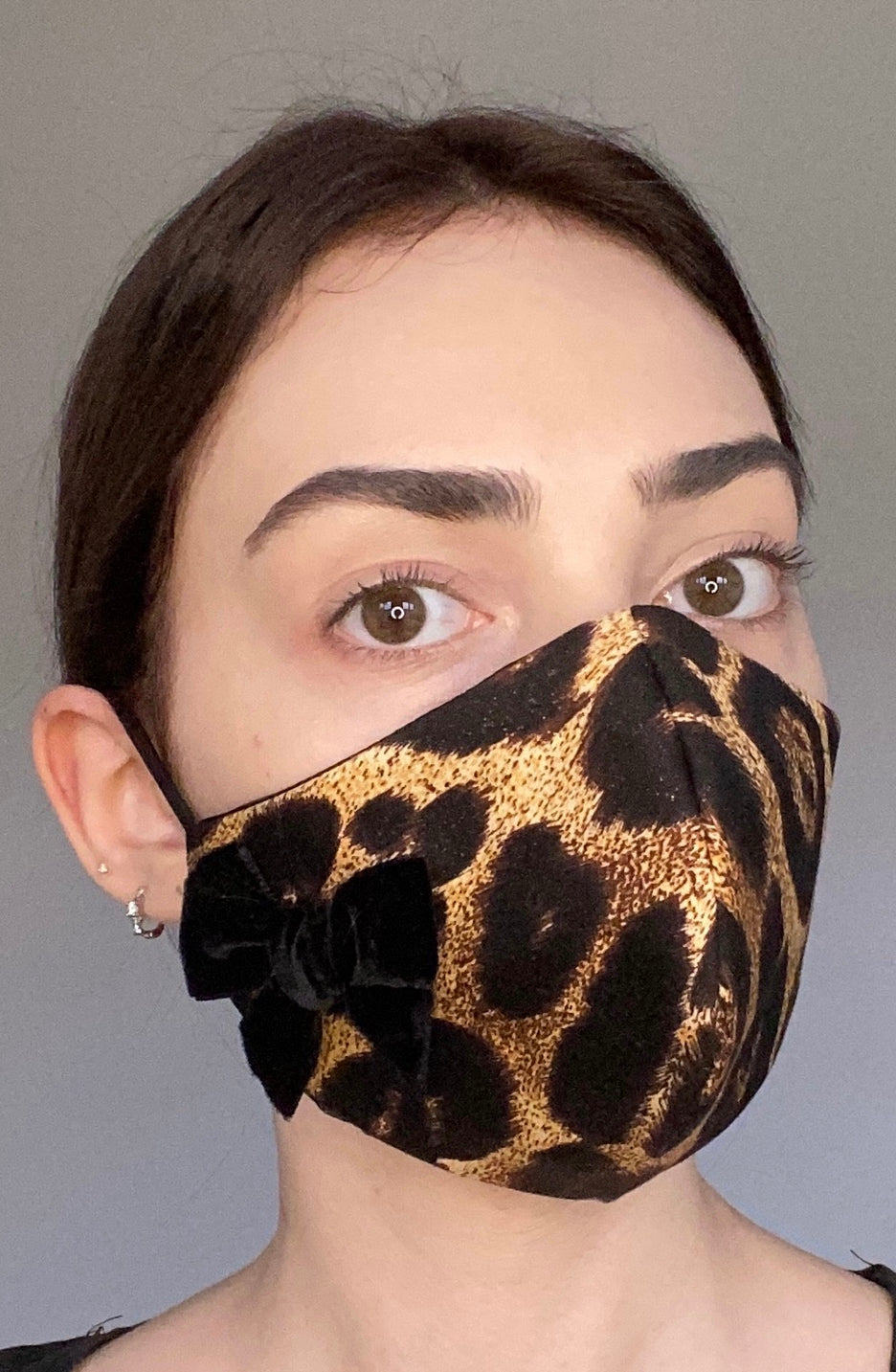 NEW Olivia Face Covering - Leopard bow