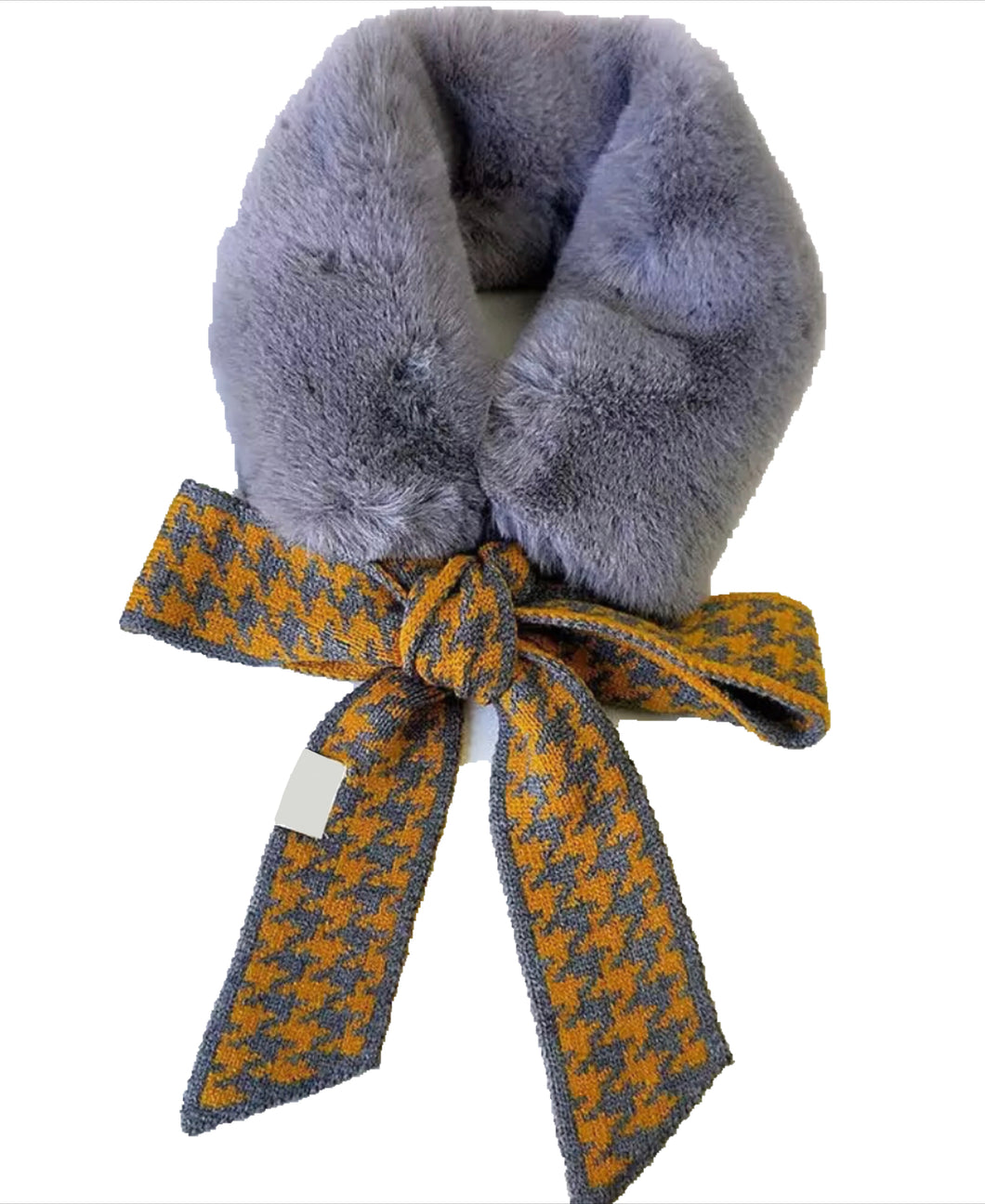SOLD OUT - NEW Amelia faux fur scarf - Grey/Yellow