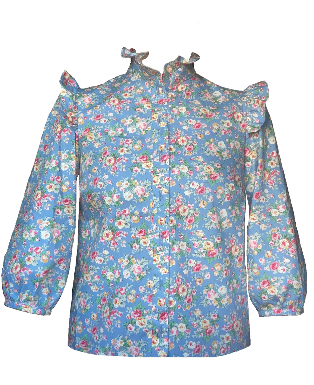 NEW Kitty frill top - Blue floral