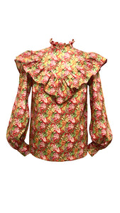 NEW Jemima frill top - Red/Pink floral