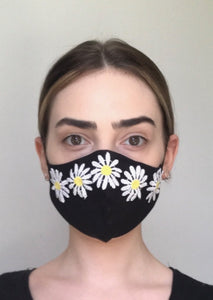 SOLD OUT - Olivia Face Mask/Covering - Black Daisy