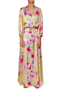 Cici button dress - Yellow floral