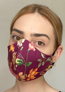 Olivia Face Covering - Burgundy floral