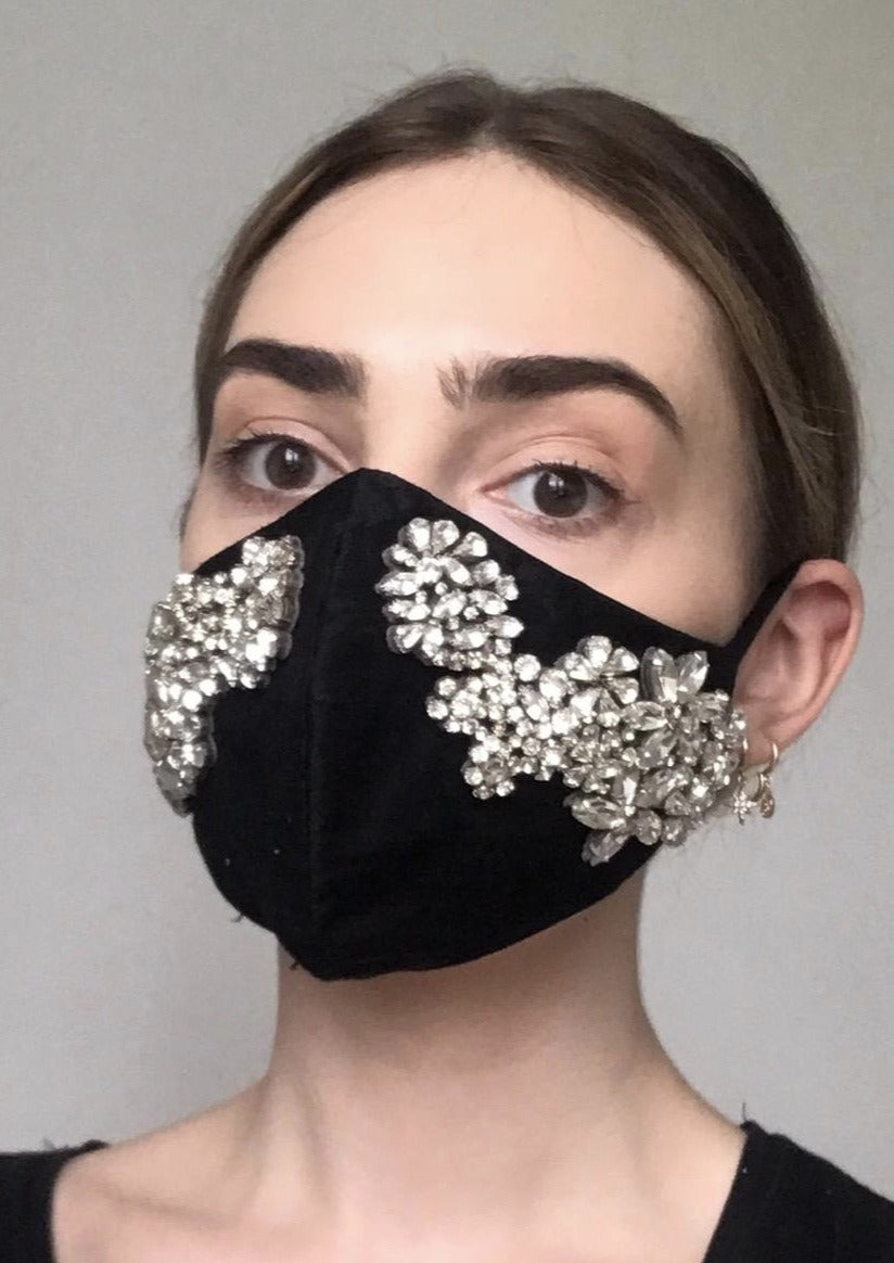 SOLD OUT - Couture Isabelle Face Covering - Black Crystal
