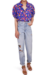 Delilah top - Blue floral